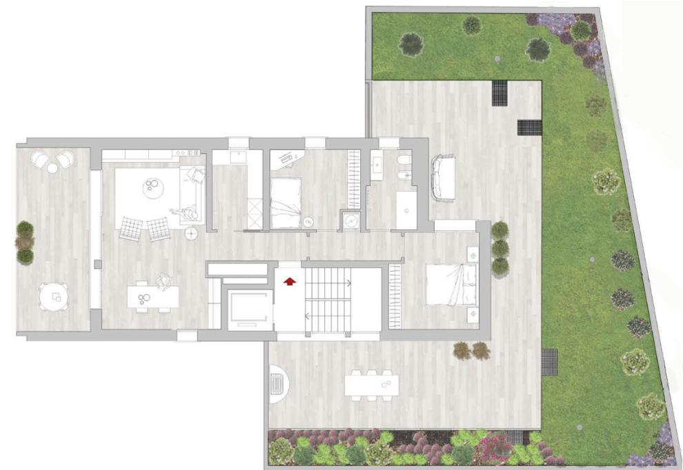 planimetria 3.5 locali con giardino